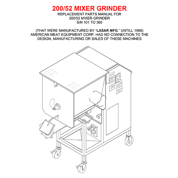 Butcher Boy 200-52 Mixer Grinder Manual