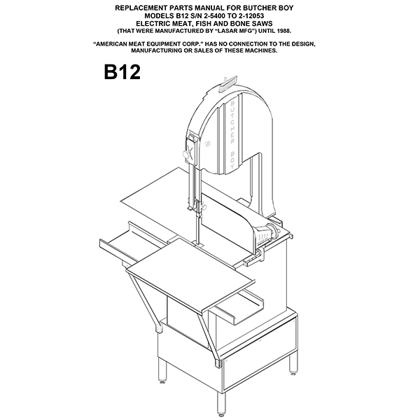 Butcher Boy B12 Meat Bandsaw Manual