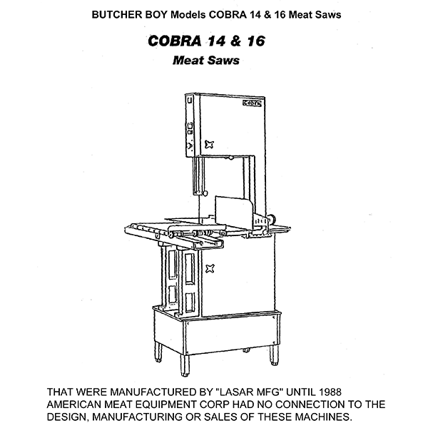 Butcher Boy Cobra 14 16 Meat Saws